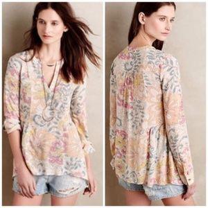 Anthropologie Maeve Laiken Pastel Floral Tunic